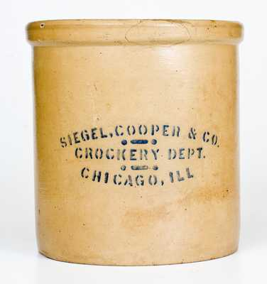 Rare Red Wing SIEGEL, COOPER & CO. / CROCKERY DEPT / CHICAGO, ILL Stoneware Crock