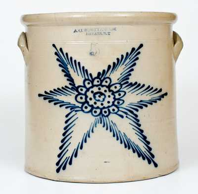 5 Gal. A. O. WHITTEMORE / HAVANA, NY Stoneware Crock w/ Elaborate Starburst