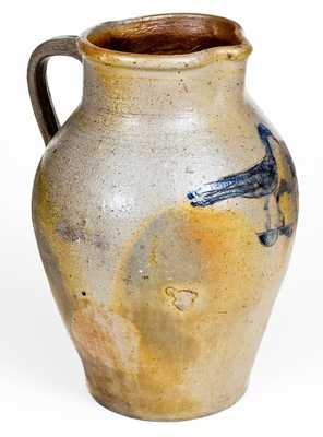 Exceptional 1 1/2 Gal. Ohio Stoneware Pitcher with Incised Bird and Fish Decoration