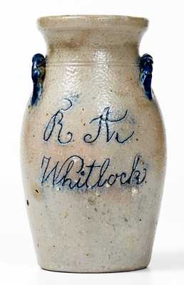 Outstanding Miniature Stoneware Incised Bird Churn attrib. Farrar, Geddes, NY