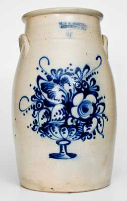 J. & E. NORTON / BENNINGTON, VT. Six-Gallon Stoneware Churn w/ Flowering Urn Design