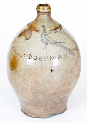 PAUL : CUSHMANS Stoneware Stoneware Jug with Incised Bird Decoration, Albany, New York