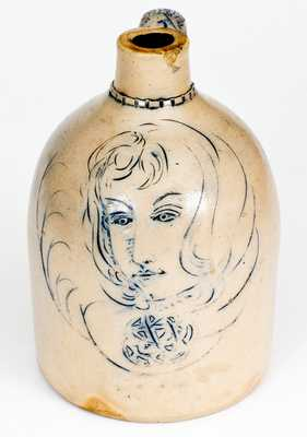 Rare Stoneware Jug with Ornate Incised Decoration of a Woman