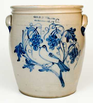 COWDEN & WILCOX, / HARRISBURG, PA Six-Gallon Stoneware Jar with Cobalt Bird and Triple-Grapes Decoration