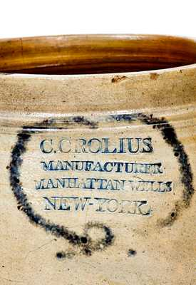 Rare C. CROLIUS / MANUFACTURER / MANHATTAN WELLS / NEW-YORK Stoneware Jar