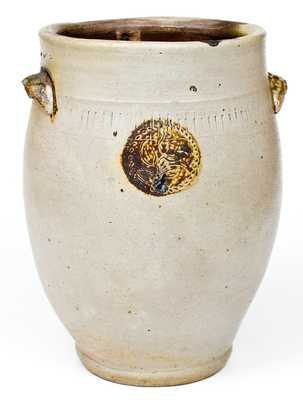 Very Rare Xerxes Price, Sayreville, NJ Stoneware Jar w/ Impressed Floral and Coggled Designs