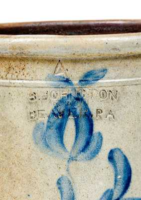Rare S. JOHNSTON & SON / BEAVER, PA Stoneware Jar with Floral Decoration