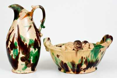 Exceptional Shenandoah Valley Multi-Glazed Redware Pitcher and Washbowl Set
