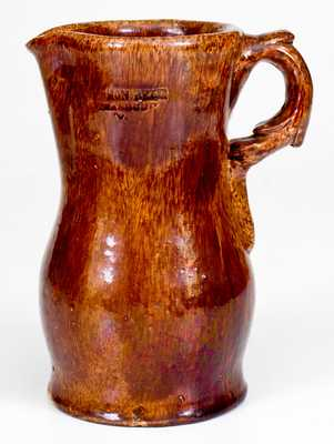 Rare SOLOMON BELL / STRASBURG, VA Redware Pitcher with Molded Handle