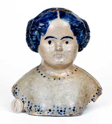 Rare Large-Sized Stoneware Doll's Head, Greensboro or New Geneva, PA origin