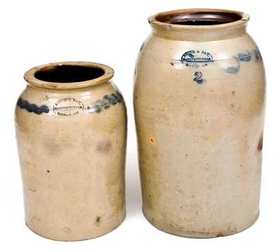 Lot of Two: SMITH & DAY, / MANUFACTURERS, / NORWALK CON Stoneware Jars