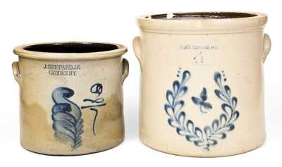 Two New York State Stoneware Crocks with Cobalt Foliate Decoration, second half 19th century