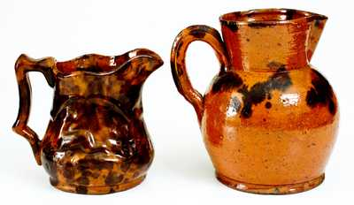 Lot of Two: Pennsylvania Redware Pitchers incl. Unusual Molded Example