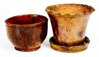 Lot of Two: Pennsylvania Redware Flowerpot and Jar