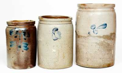 Lot of Three: Baltimore, MD Stoneware Jars with Cobalt Decoration