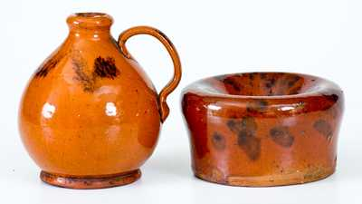 Lot of Two: Small-Sized Redware Jug and Spittoon with Manganese Decoration