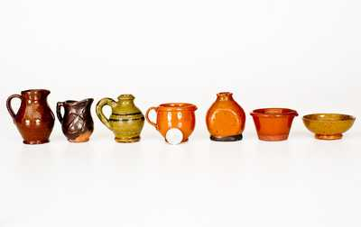 Lot of Seven: Miniature Redware Vessels incl. Unusual I. Stahl Jug and Molded Anchor Pitcher