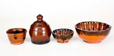 Lot of Four: Glazed Redware Vessels incl. Bank, Jar, and Two Similar Molds