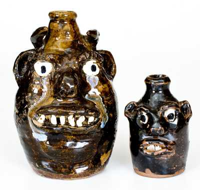 Lot of Two: Marie Rogers, Meansville, GA Stoneware Face Jugs