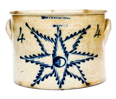 Rare T. HARRINGTON / LYONS Four-Gallon Stoneware Crock w/ Starburst Decoration.