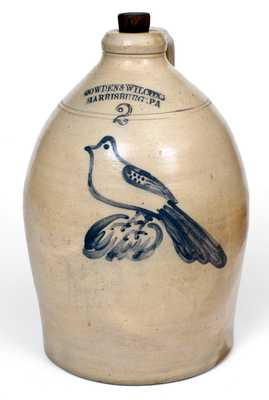 Two-Gallon COWDEN & WILCOX / HARRISBURG, PA Stoneware Jug w/ Bird Design
