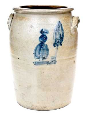 Morgantown, WV Stoneware People Crock,Thompson Pottery, circa 1865