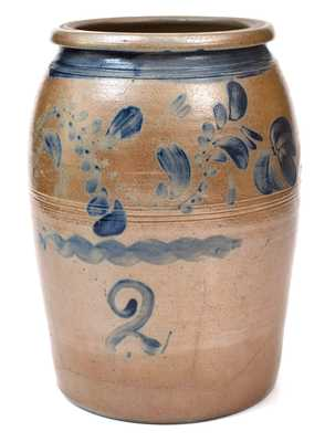 Two-Gallon Western PA Stoneware with Cobalt Floral Decoration, circa 1870.