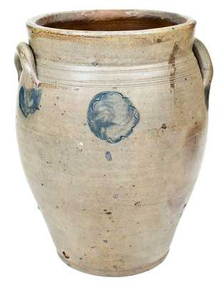 Two-Gallon Stoneware Jar w/ Impressed Floral Motif, NJ or poss. Josiah Chapman, Troy, NY