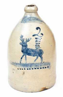 Excellent J.C. WAELDE / NORTH BAY, New York Stoneware Deer Jug
