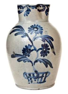 Outstanding 3 Gal. Stoneware Pitcher with Flowering Urn Decoration, Baltimore, circa 1825