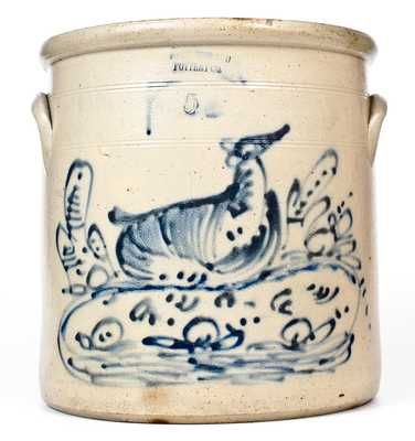 Rare FORT EDWARD POTTERY CO. Elaborate Stoneware Reclining Doe Crock