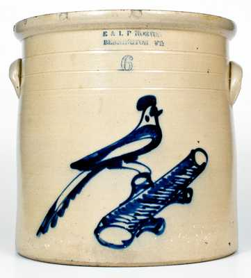 6 Gal. E. & L. P. NORTON / BENNINGTON, VT Stoneware Crock w/ Bold Bird-on-Branch