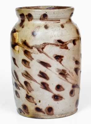 Unusual Stoneware Jar w/ Profuse Manganese Splotch Decoration, probably Ohio