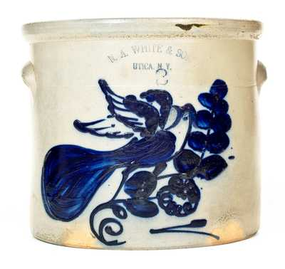 N. A. WHITE & SON / UTICA, NY Stoneware Crock w/ Bold Flapping-Winged Bird