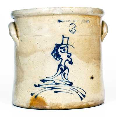 Rare W. ROBERTS BINGHAMTON, NY Stoneware Crock w/ Slip-Trailed Man Decoration