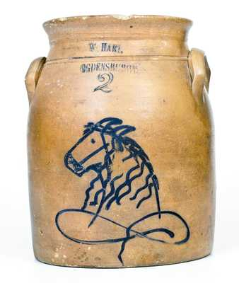 Rare W. HART / OGDENSBURGH Stoneware Jar w/ Horse Head Decoration