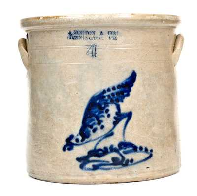 4 Gal. J. NORTON & CO. / BENNINGTON, VT Stoneware Chicken Crock