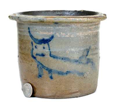 Unusual Small-Sized Stoneware Pail-Shaped Jar w/ Bull Design (Southern or Midwestern)