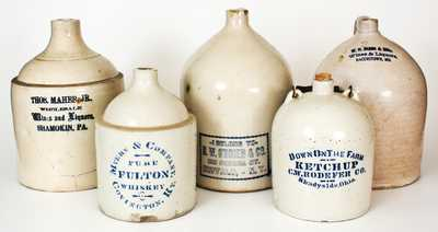 Five Advertising Jugs: Hagerstown, MD; Covington, KY; Shamokin, PA; Shadyside, OH; Buffalo, NY