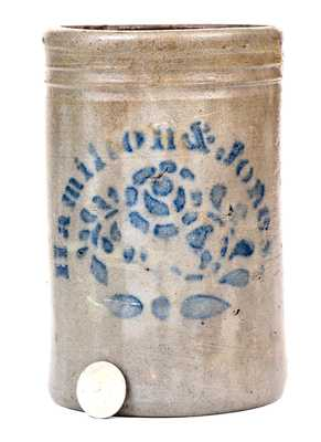 One-Quart Hamilton & Jones Stoneware Canning Jar w/ Stenciled Floral Decoration