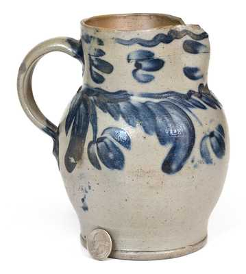 One-Quart Baltimore Stoneware Pitcher with Hanging Floral Decoration, circa 1840