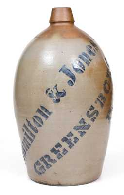 Fine Hamilton & Jones / Greensboro, PA Stoneware Jug with Bold Stenciled Name