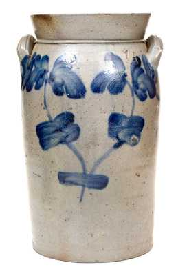 1 1/2 Gal. Baltimore Stoneware Churn with Floral Decoration, circa 1850