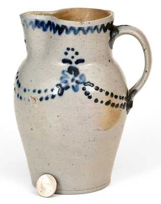 Very Fine One-Quart Stoneware Pitcher att. Morgan & Amoss, Baltimore, MD, circa 1820