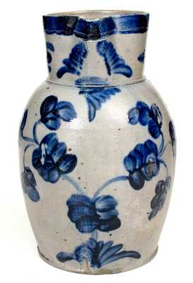 Outstanding Baltimore Stoneware Two-Gallon Pitcher w/ Elaborate Cobalt Floral Decoration