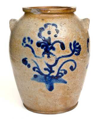Outstanding Baltimore Stoneware Jar w/ Abstract Slip-Trailed Floral Decoration, c1825