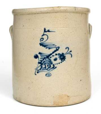 5 Gal. Ohio Stoneware Crock with Fishing Lure Decoration