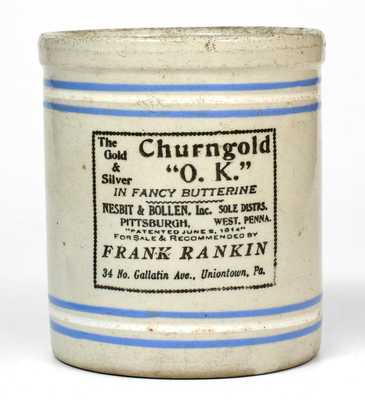 Small Bristol-Slip Stoneware Jar with Uniontown, PA Advertising