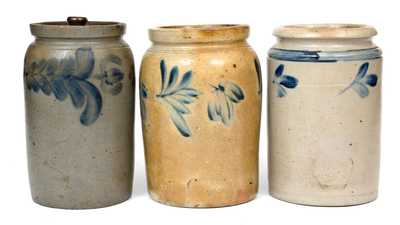 Lot of Three: 1/2 Gal. Decorated Stoneware Jars, Baltimore and Philadelphia origin