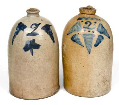 Lot of Two: 2 Gal. Ohio Stoneware Jugs with Cobalt Decoration